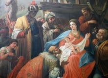 Scène de nativité, adoration des Rois mages photos libres de droits