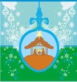 Scène de nativité de Christian Christmas de bébé Jésus Photographie stock libre de droits