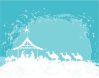 Scène de nativité de Christian Christmas de bébé Jésus dans la mangeoire Photos stock