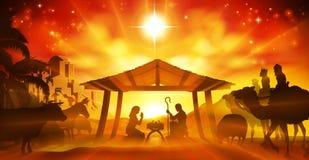 Scène de nativité de Noël illustration stock