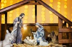 Scène de nativité de Noël ; Jesus Christ, Mary et Joseph images stock