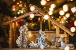Scène de nativité de Noël ; Jesus Christ, Mary et Joseph photos stock