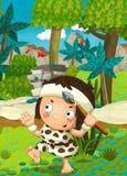 Scène de nature de bande dessinée - jungle - avec le garçon drôle de manga - scène heureuse Image stock