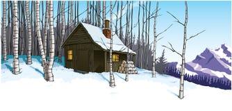 Scène de neige avec la retraite de hutte de montagne Images libres de droits