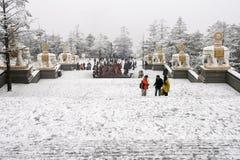Scène de neige dans le goldentop, Emei Shan, porcelaine Image libre de droits