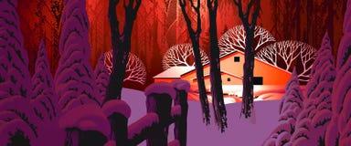 Scène de neige de l'hiver avec la grange illustration de vecteur