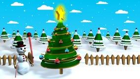 Scène de Noël d'un bonhomme de neige tirant un arbre de Noël hors de son chapeau quand il le touche avec sa canne de sucrerie banque de vidéos