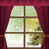 Scène de Noël par une fenêtre illustration de vecteur