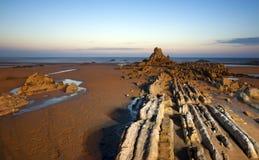 Scène de nuit à la plage Basque de pays Images libres de droits