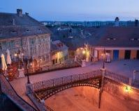 Scène de nuit au-dessus de vieille ville de Sibiu Photos libres de droits