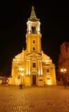 Scène de nuit avec l'église Photos stock