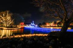 Scène de nuit chez Nabana aucun Sato, Mie, Japon images libres de droits