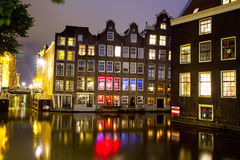 Scène de nuit d'Amsterdam Photo stock