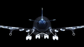 Scène de nuit d'atterrissage d'avion banque de vidéos