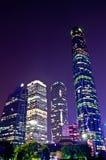 Scène de nuit dans la ville neuve de guangzhou Zhujiang Photos libres de droits