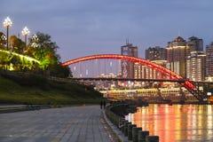 Scène de nuit dans Yibin, Sichuan, porcelaine photographie stock libre de droits