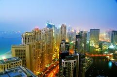scène de nuit de marina de 3 Dubaï Photographie stock