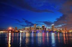 Scène de nuit de Miami Photos libres de droits