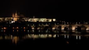 Scène de nuit de panorama de Prague Images libres de droits