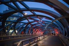 Scène de nuit de pont de Genève images libres de droits