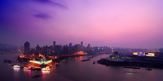 Scène de nuit de port de Chongqing photo stock