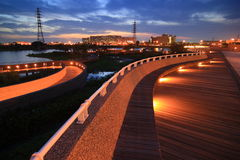 Scène de nuit de stationnement industriel de technologie de Tainan photographie stock libre de droits