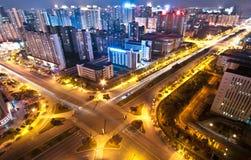 Scène de nuit de ville de Changhaï Photo libre de droits