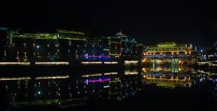 scène de nuit de ville de Fenghuang Images libres de droits