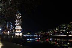 scène de nuit de ville de Fenghuang Image libre de droits