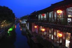 Scène de nuit de Zhouzhuang images libres de droits