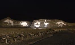 Scène de nuit en stationnement géologique Timna, Israël image libre de droits