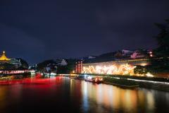 Scène de nuit sur la rivière de Qinhuai Photo stock