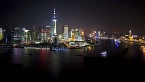 Scène de nuit de ville de Changhaï Lujiazui banque de vidéos