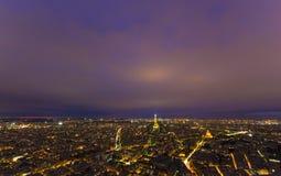 scène de nuit de ville de Paris avec Tour Eiffel Photo stock