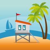 Scène de paysage urbain de Miami Beach illustration de vecteur