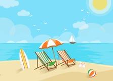 Scène de plage, accueil aux vacances illustration stock