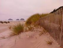 Scène de plage avec la barrière Photographie stock