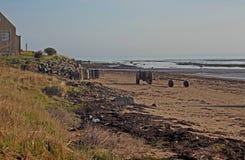 Scène de plage, Boulmer, le Northumberland photos stock