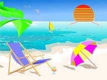 Scène de plage d'été illustration stock