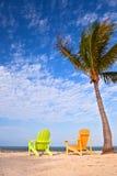 Scène de plage d'été avec des palmiers et des chaises longues Photographie stock