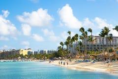 Scène de plage d'Aruba de Palm Beach Photo libre de droits