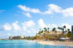 Scène de plage d'Aruba de Palm Beach Images stock