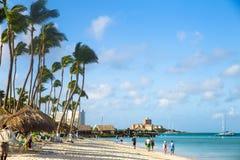 Scène de plage d'Aruba de Palm Beach Images libres de droits