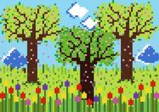 Scène de ressort de pixels illustration libre de droits