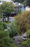 Scène de rue de poteaux et d'arbres de télégraphe Photo libre de droits