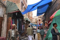 Scène de rue de Sanaa, Yémen Images stock