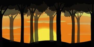 Scène de silhouette de forêt au coucher du soleil illustration de vecteur