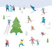 Scène de sport d'hiver, avec des personnes ayant l'amusement Photographie stock libre de droits