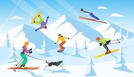 Scène de station de sports d'hiver de vacaction d'hiver ski de pays croisé d'homme et de femme, sauter, faisant du surf des neige Photographie stock libre de droits