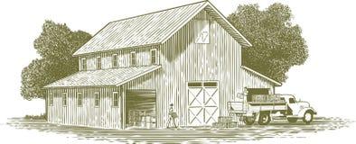 Scène de travail de ferme de gravure sur bois Images libres de droits